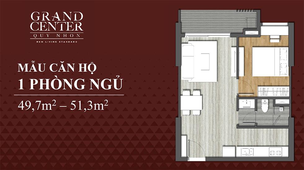 thiết kế grand center quy nhơn căn hộ 1 ngủ