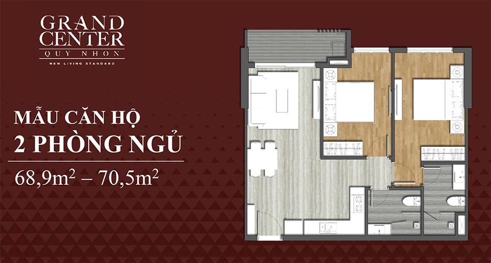 thiết kế grand center quy nhơn căn hộ 2 ngủ