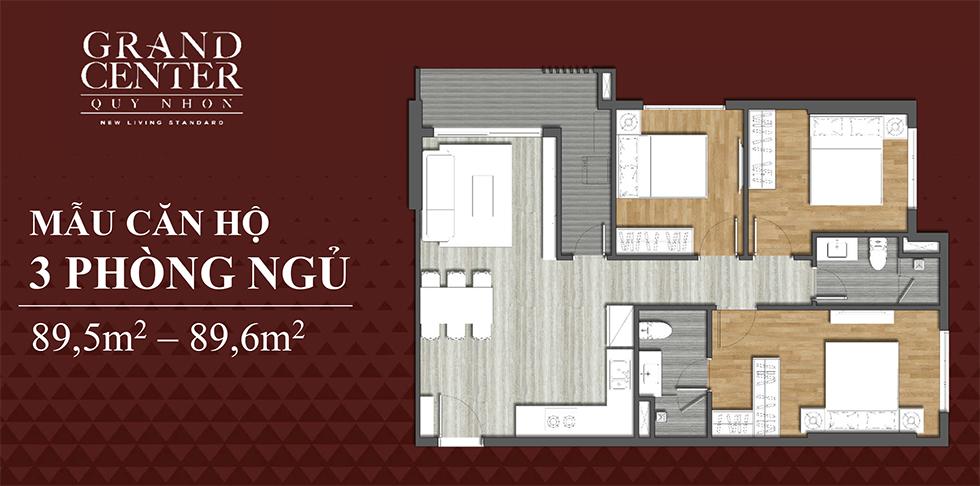 thiết kế grand center quy nhơn căn hộ 3 ngủ
