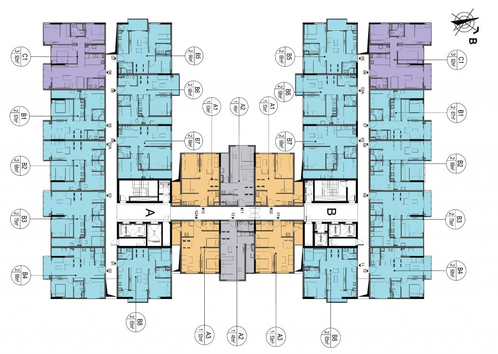 mặt bằng chung cư lotus central lý thái tổ