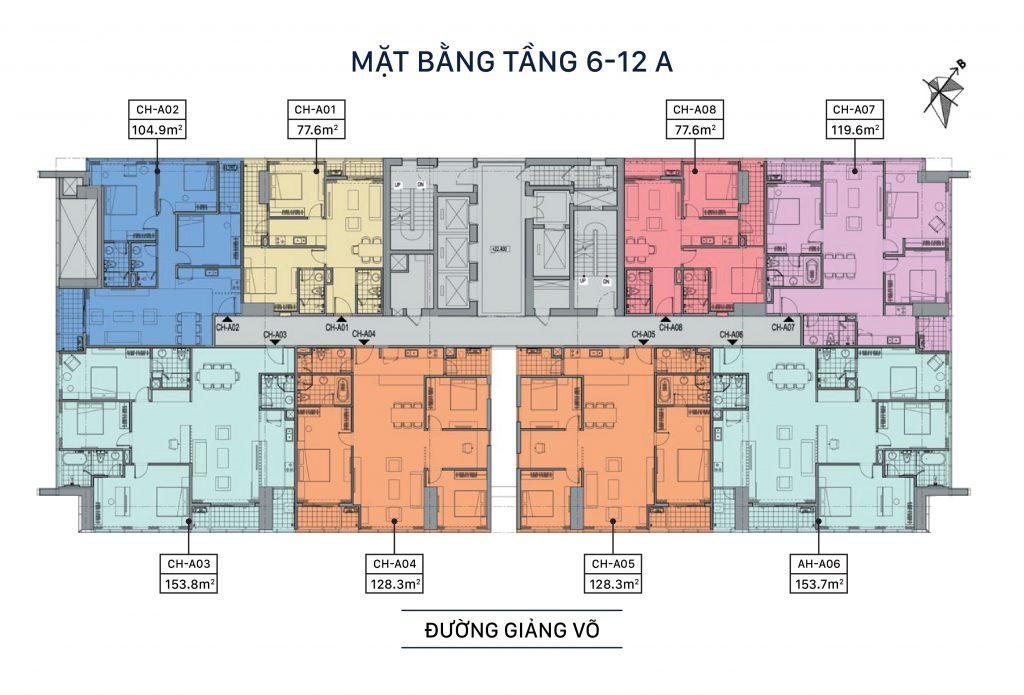 mặt bằng chung cư grandeur palace giảng võ tầng 6 - 12a