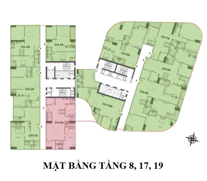 mặt bằng chung cư manhattan tower tầng 8,17,19