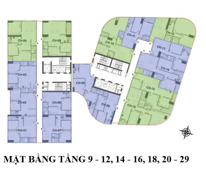 mặt bằng chung cư manhattan tower tầng 9–12, 14–16, 18, 20–29