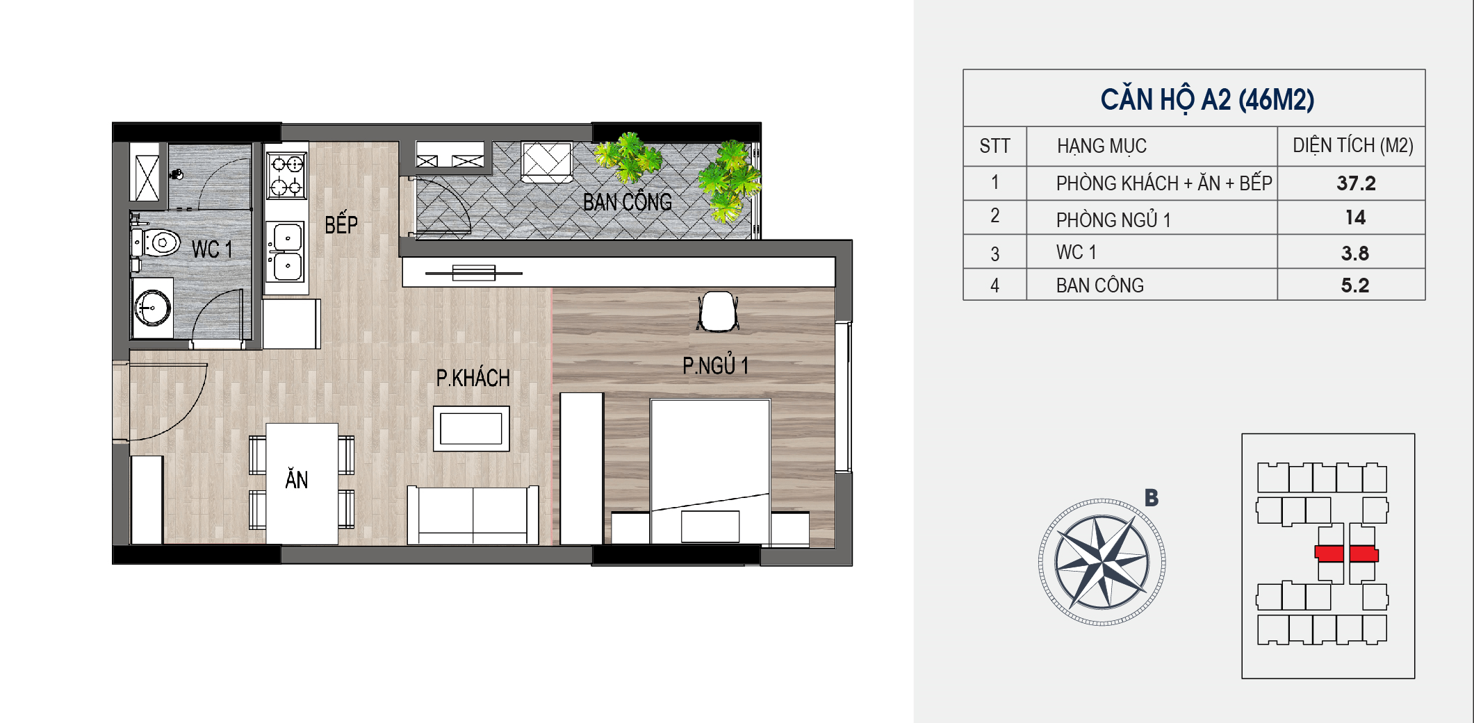 thiết kế chung cư lotus central căn hộ a2