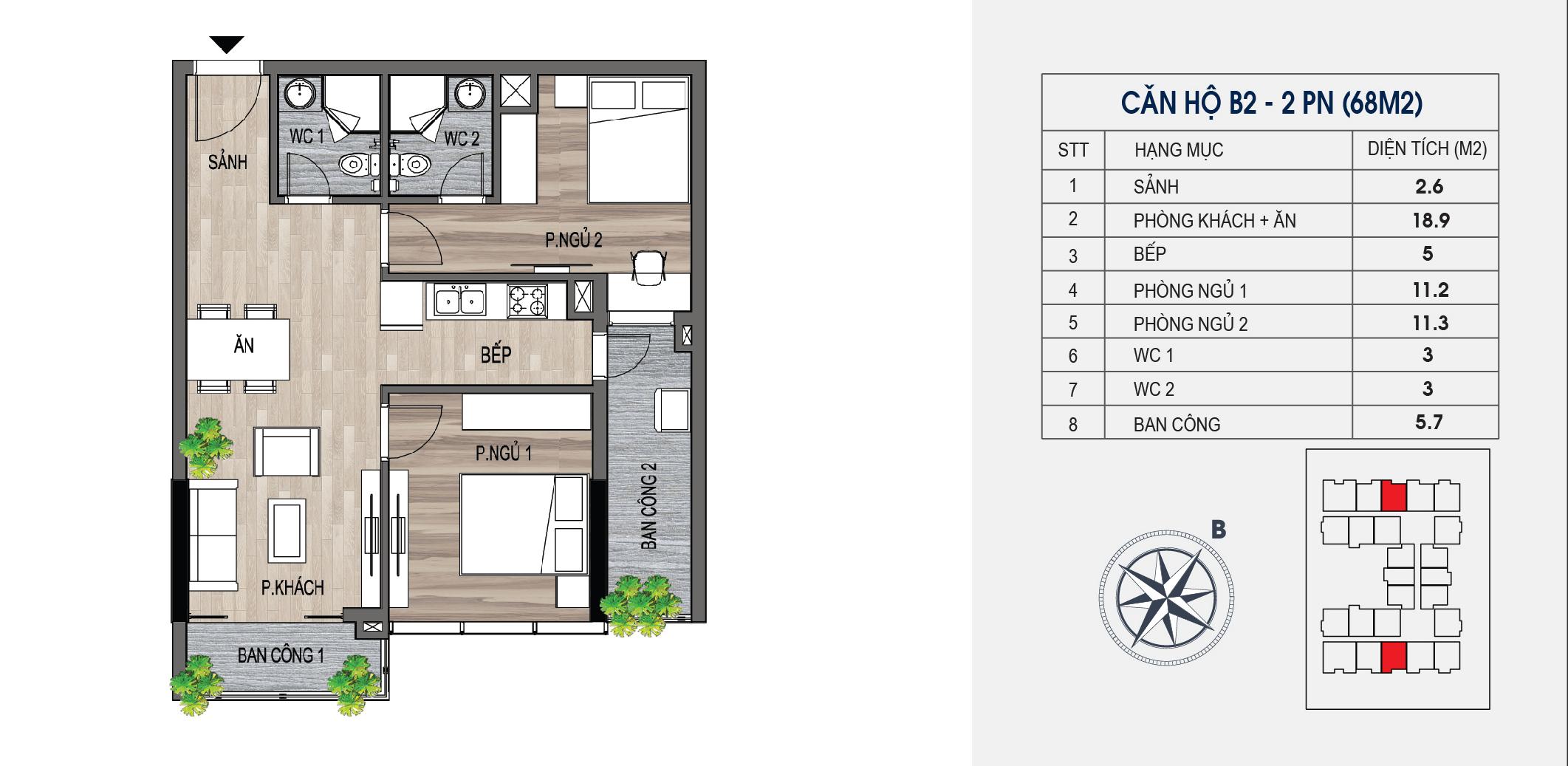 thiết kế chung cư lotus central căn hộ b2