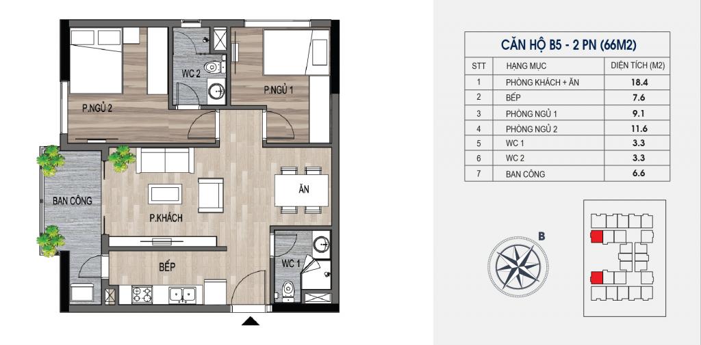 thiết kế chung cư lotus central căn hộ b5