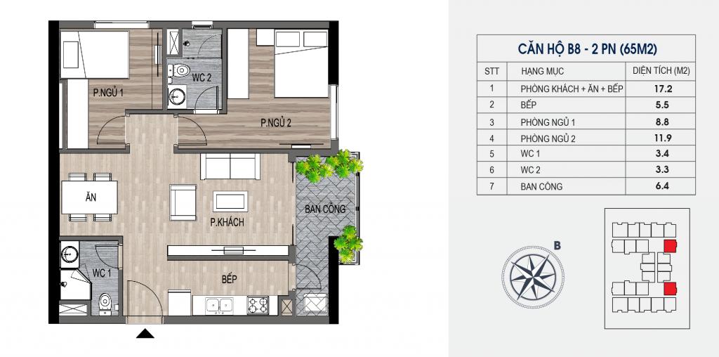 thiết kế chung cư lotus central căn hộ b8
