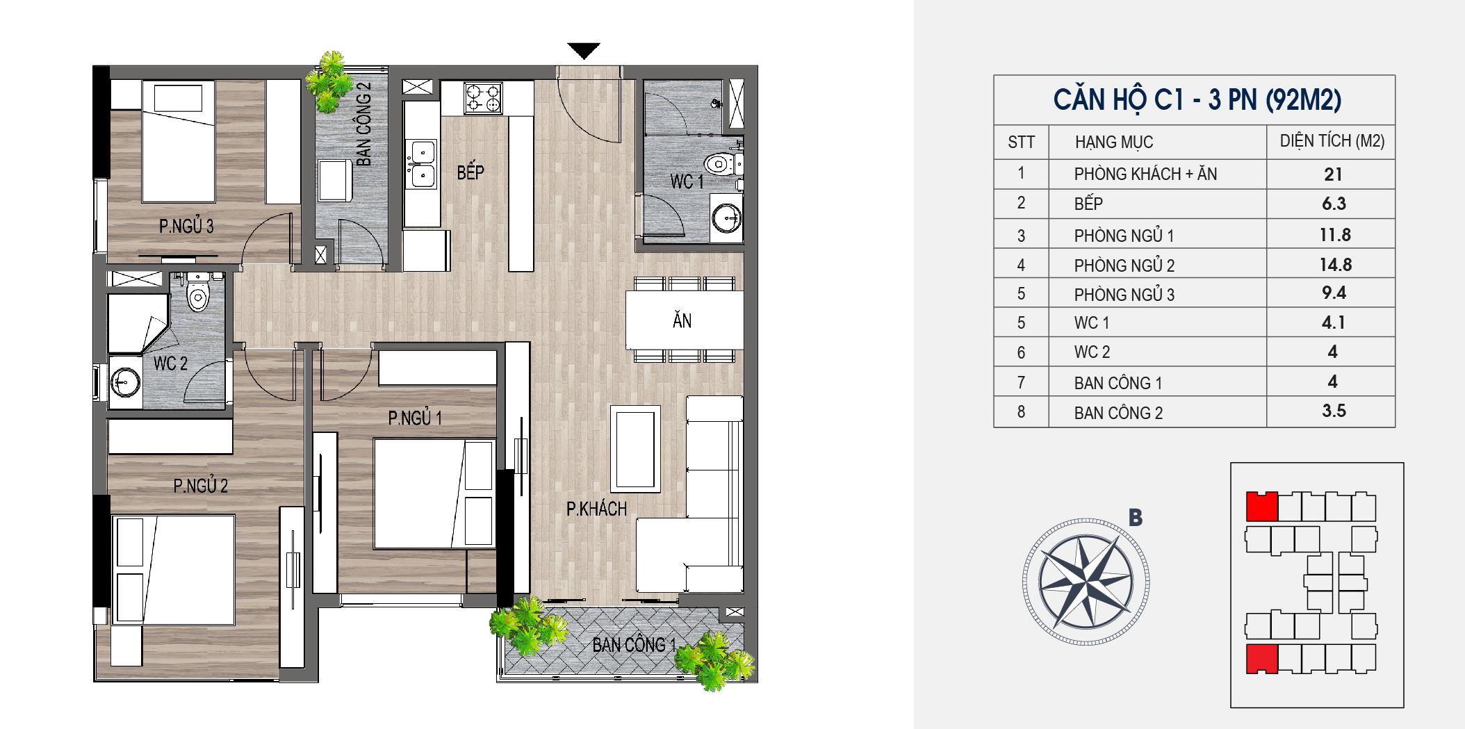 thiết kế chung cư lotus central căn hộ c1