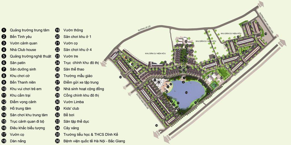 tiện ích dự án bách việt lake garden