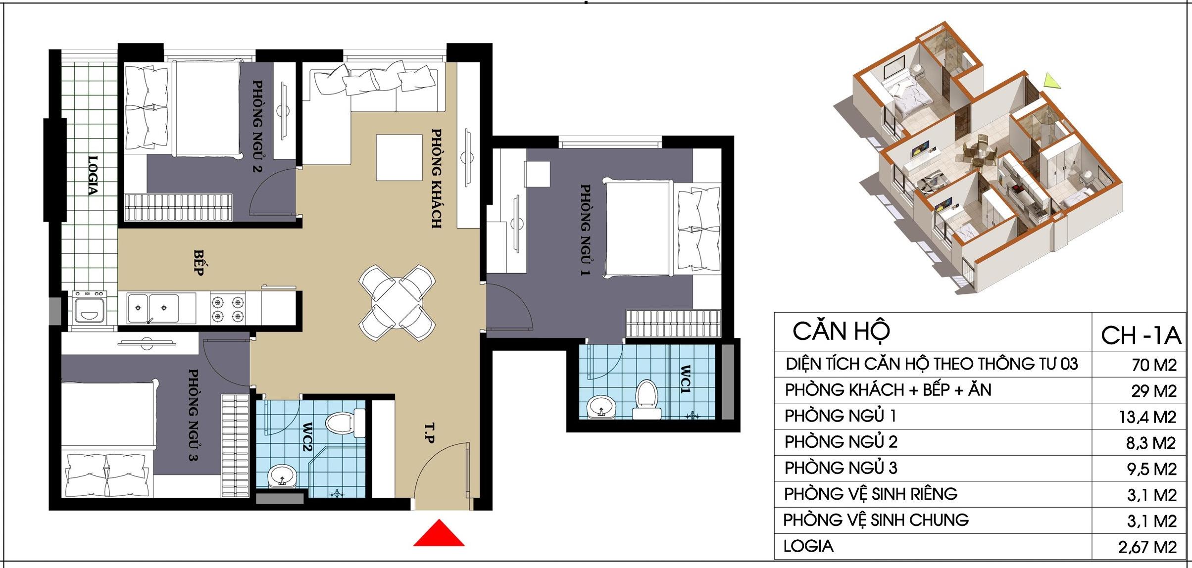 căn hộ 1a chung cư @home