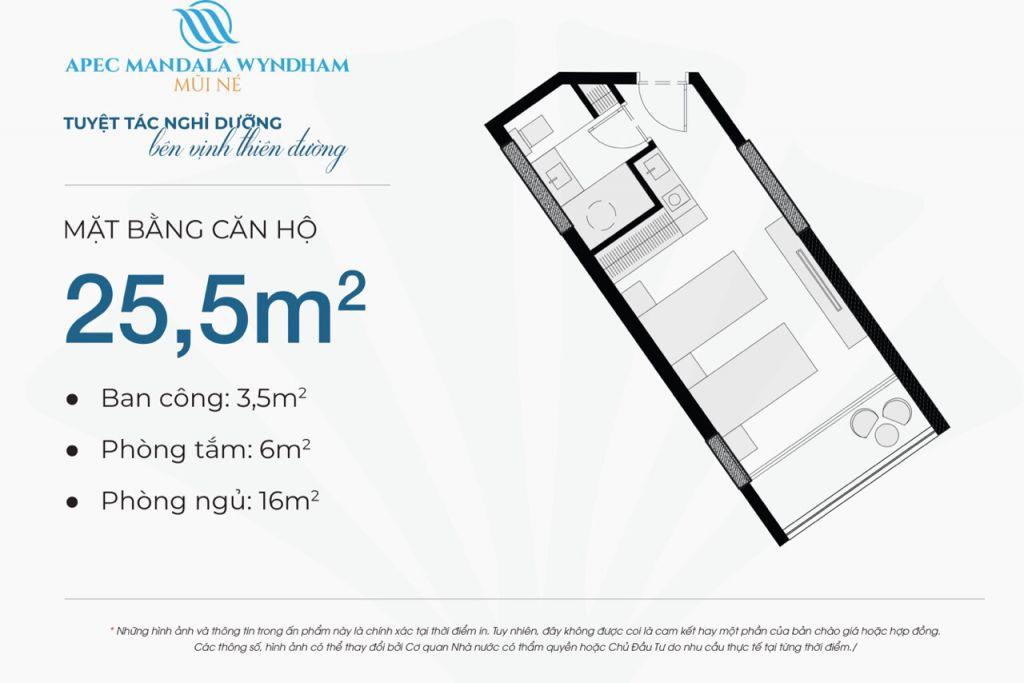 thiết kế căn hộ apec mandala wyndham căn hộ 25.5m2