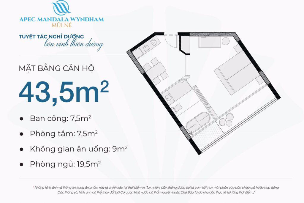 thiết kế căn hộ apec mandala wyndham căn hộ 43.5m2