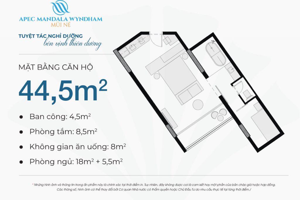 thiết kế căn hộ apec mandala wyndham căn hộ 44.5m2