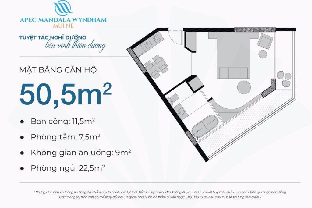 thiết kế căn hộ apec mandala wyndham căn hộ 50.5m2