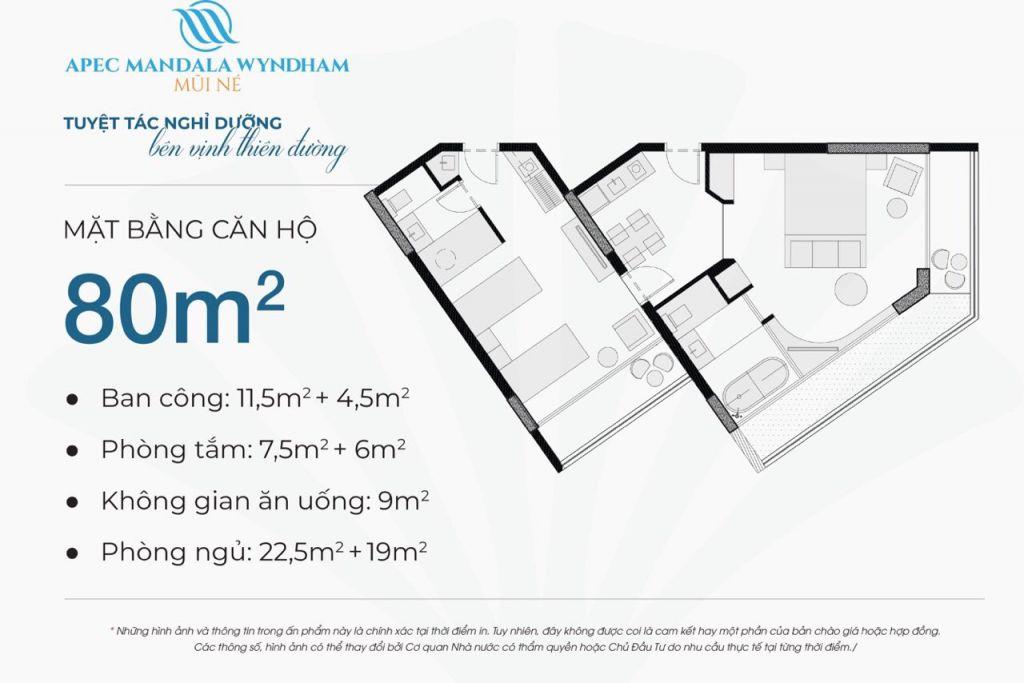 thiết kế căn hộ apec mandala wyndham căn hộ 80m2