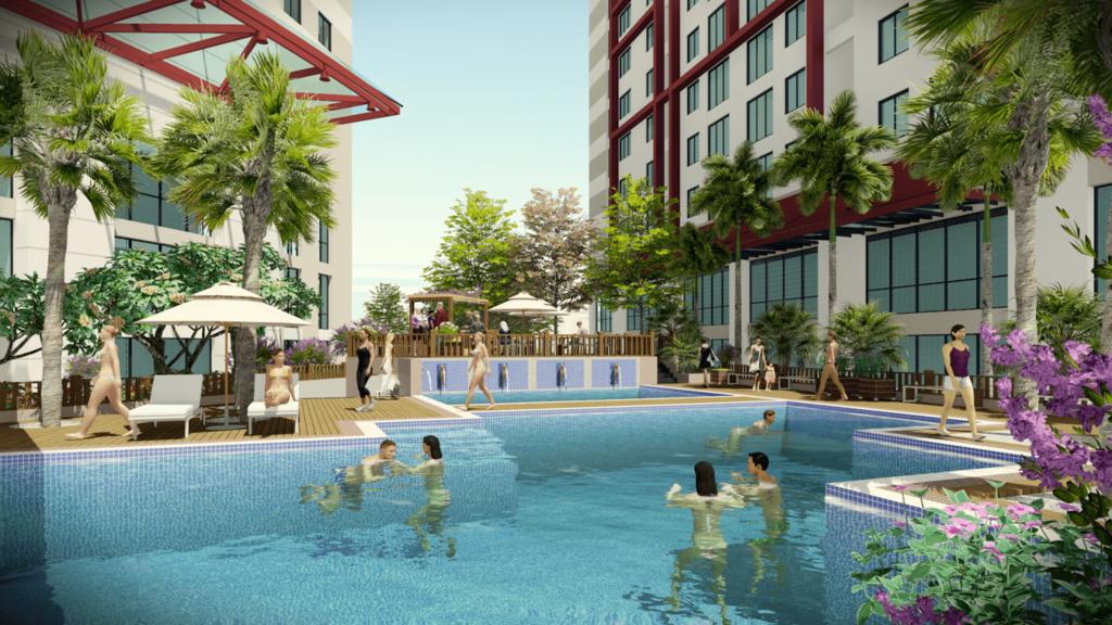 bể bơi ngoài trời dự án sky view plaza
