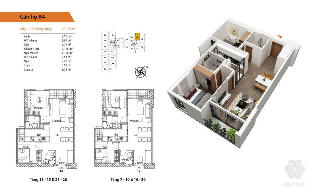 thiết kế chung cư bea sky căn a4