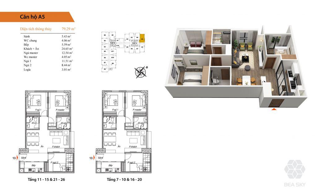 thiết kế chung cư bea sky căn a5