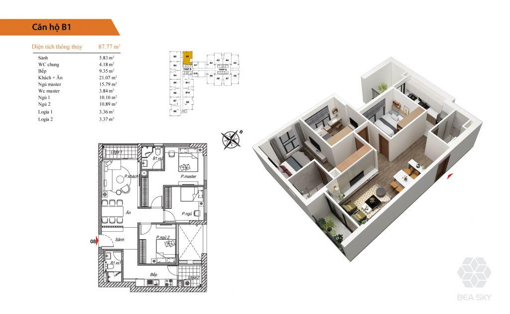 thiết kế chung cư bea sky căn b1