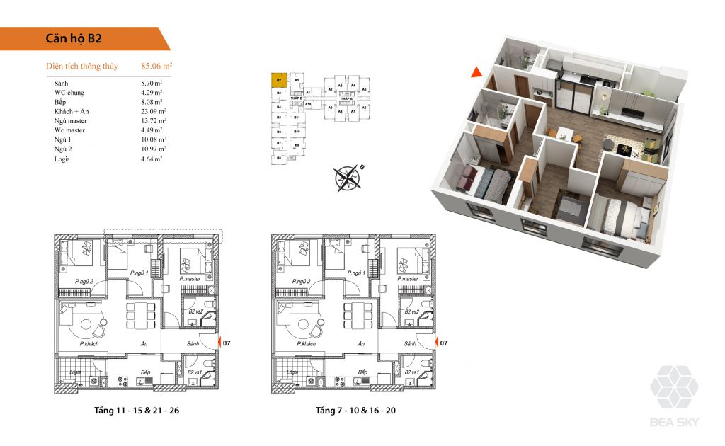 thiết kế chung cư bea sky căn b2