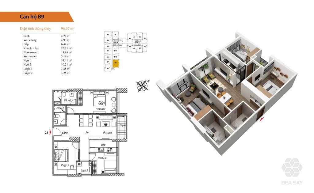 thiết kế chung cư bea sky căn b9