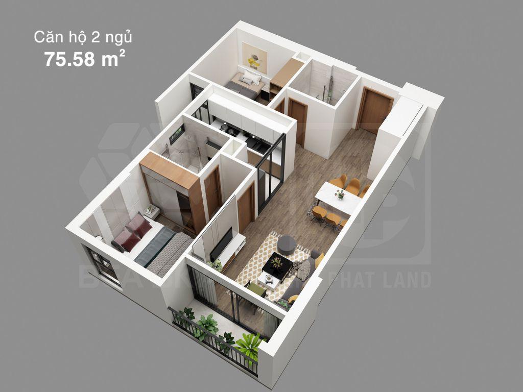 căn hộ 2 ngủ chung cư bea sky