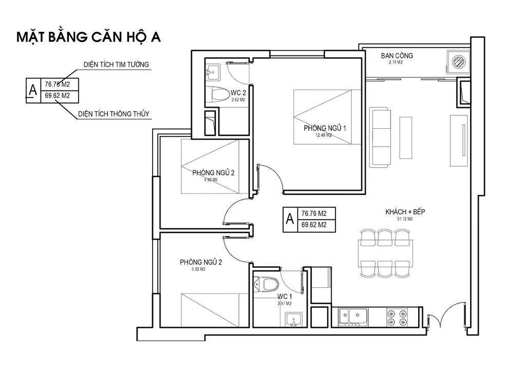Thiết kế căn hộ loại A chung cưFLC Green Apartment Phạm Hùng