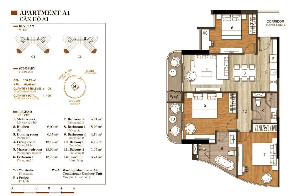 thiết kế aparthotel crystal marina bay căn hộ a1