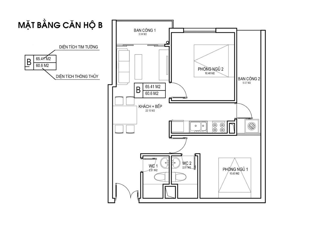 Thiết kế căn hộ loại B chung cưFLC Green Apartment Phạm Hùng