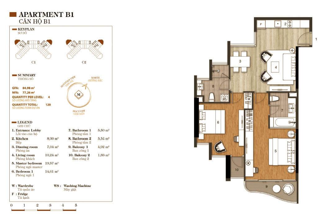 thiết kế aparthotel crystal marina bay căn hộ b1