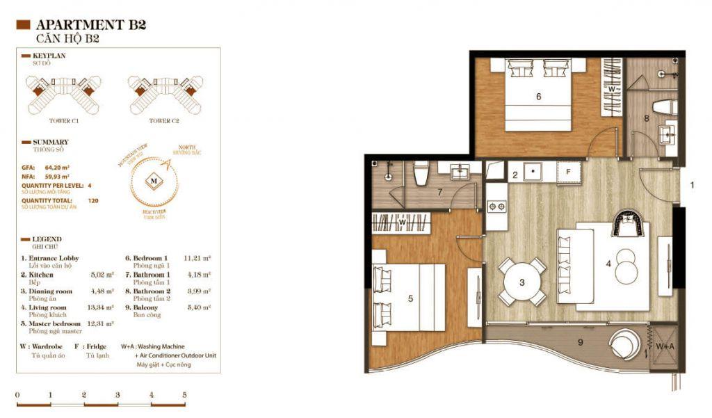 thiết kế aparthotel crystal marina bay căn hộ b2