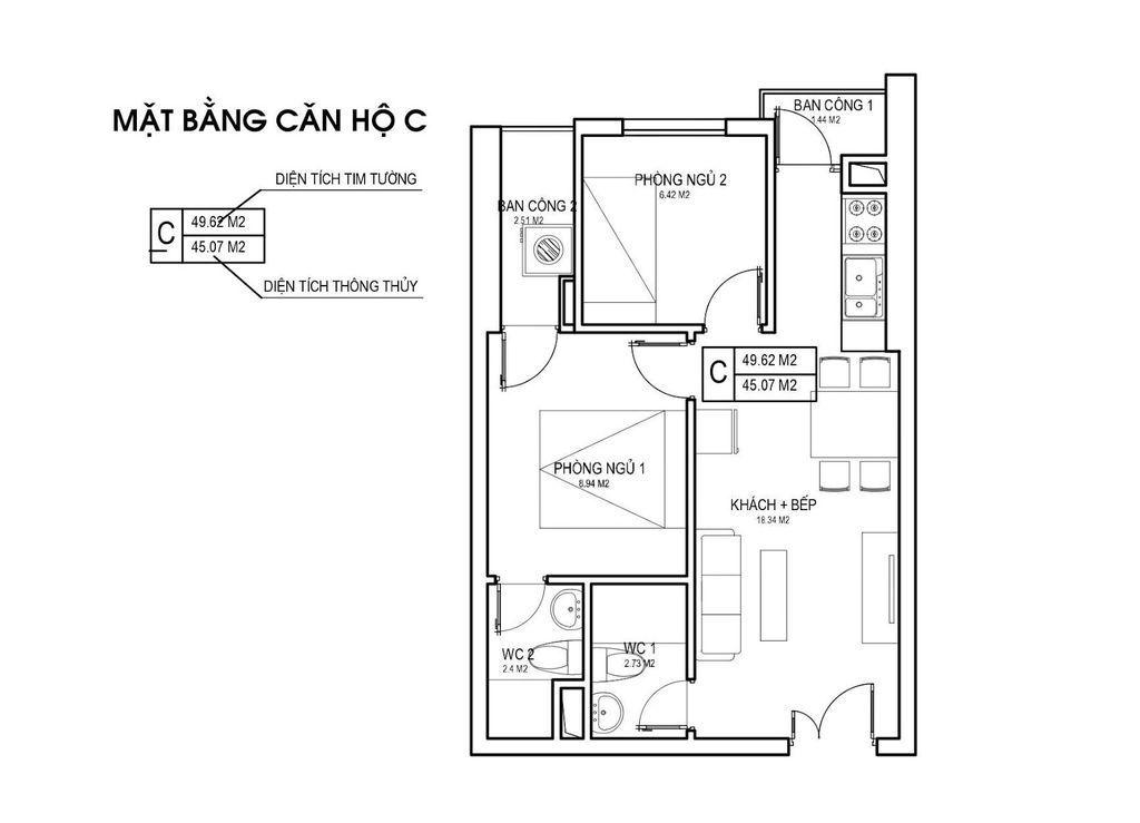 Thiết kế căn hộ loại C chung cưFLC Green Apartment Phạm Hùng