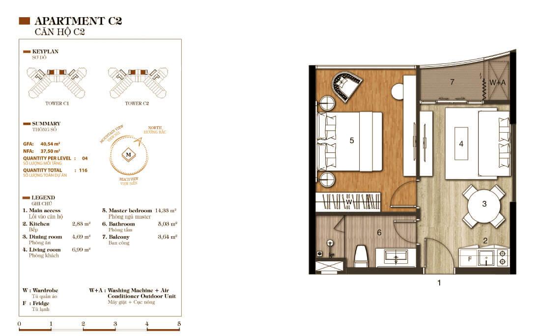 thiết kế aparthotel crystal marina bay căn hộ c2