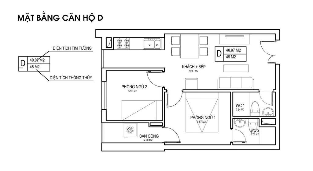 Thiết kế căn hộ loại D chung cưFLC Green Apartment Phạm Hùng