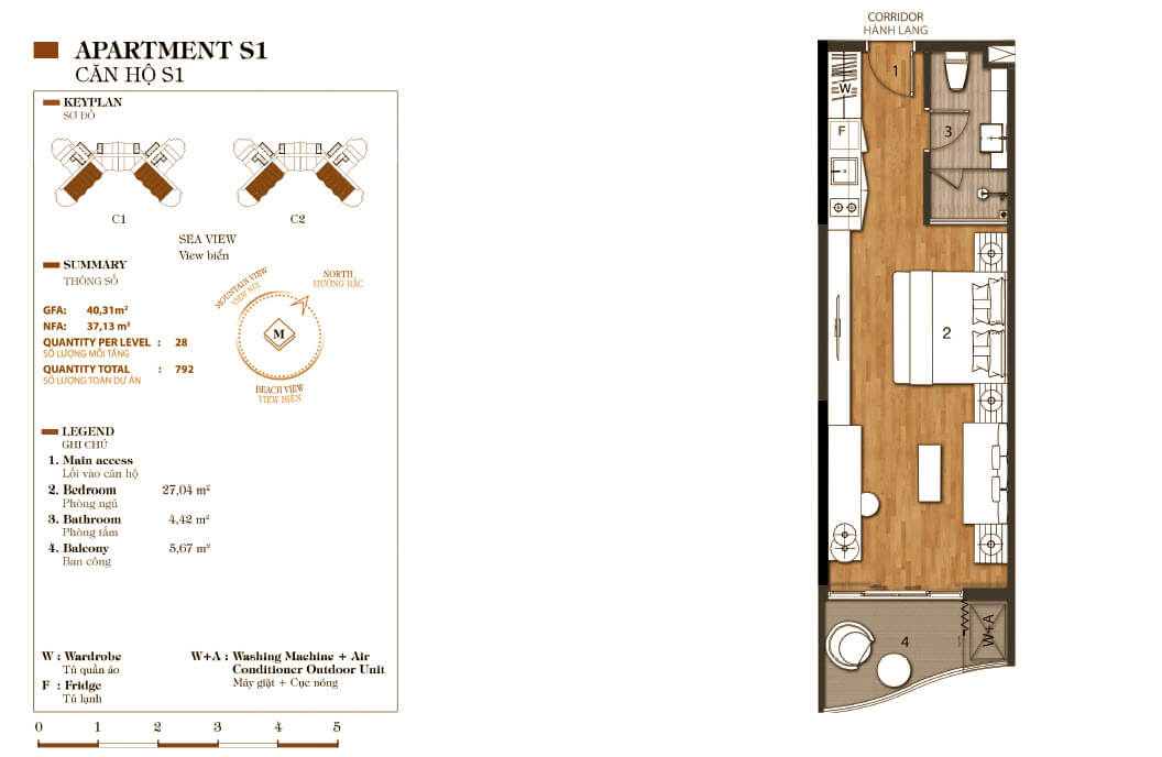thiết kế aparthotel crystal marina bay căn hộ s1