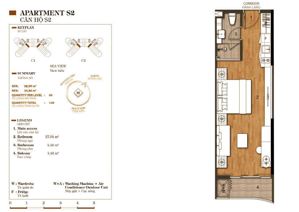 thiết kế aparthotel crystal marina bay căn hộ s2