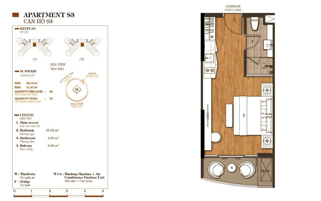 thiết kế aparthotel crystal marina bay căn hộ s3