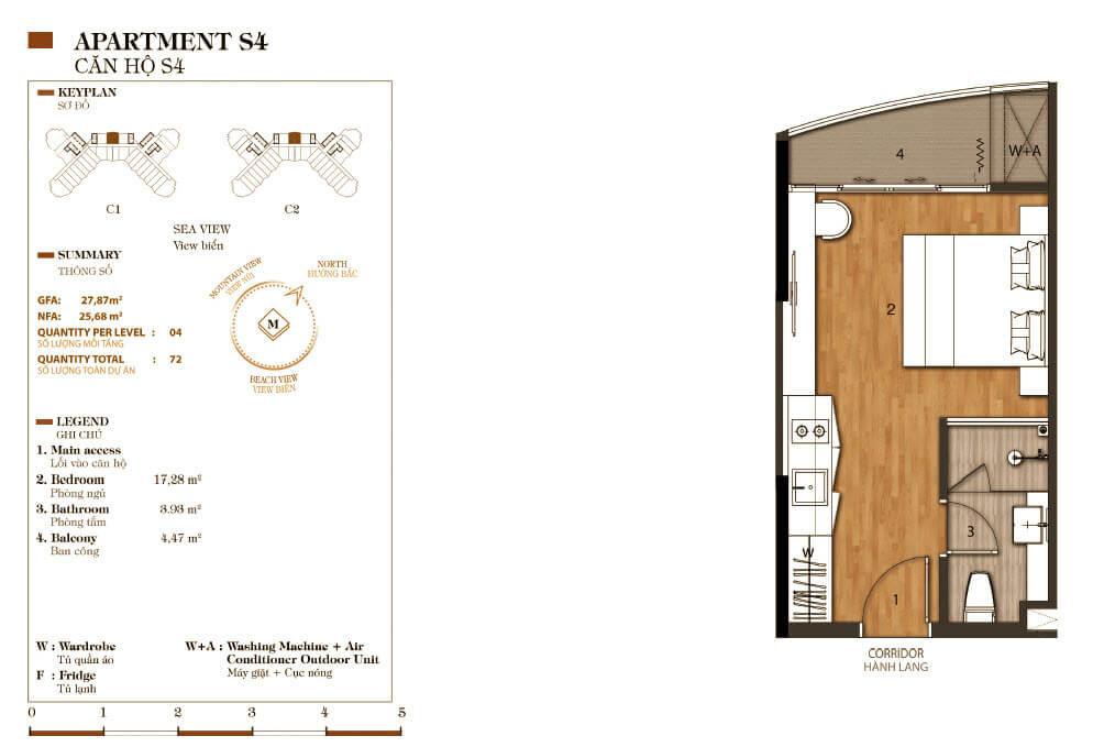 thiết kế aparthotel crystal marina bay căn hộ s4