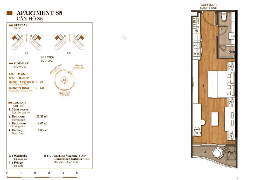 thiết kế aparthotel crystal marina bay căn hộ s5