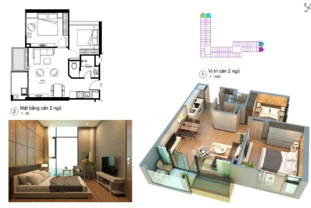 thiết kế condotel wyndham lynn times căn hộ 2 ngủ