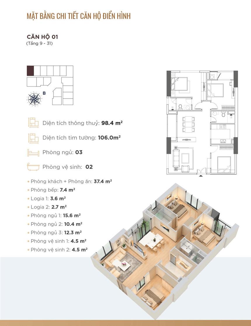 thiết kế chung cư golden park tower căn hộ 01