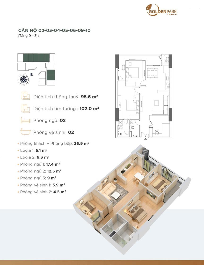 thiết kế chung cư golden park tower căn hộ 02,03,04,05,06,09,10