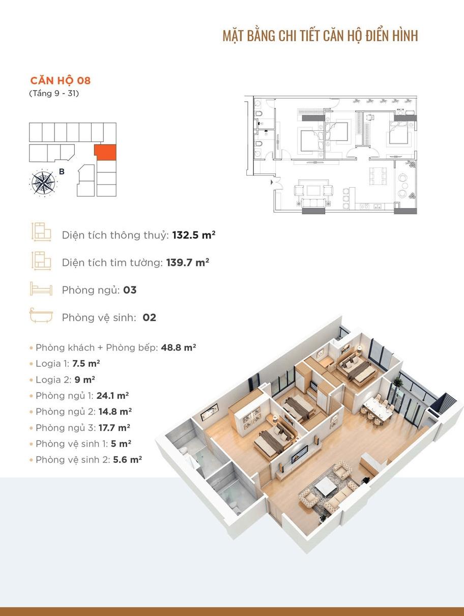thiết kế chung cư golden park tower căn hộ 08