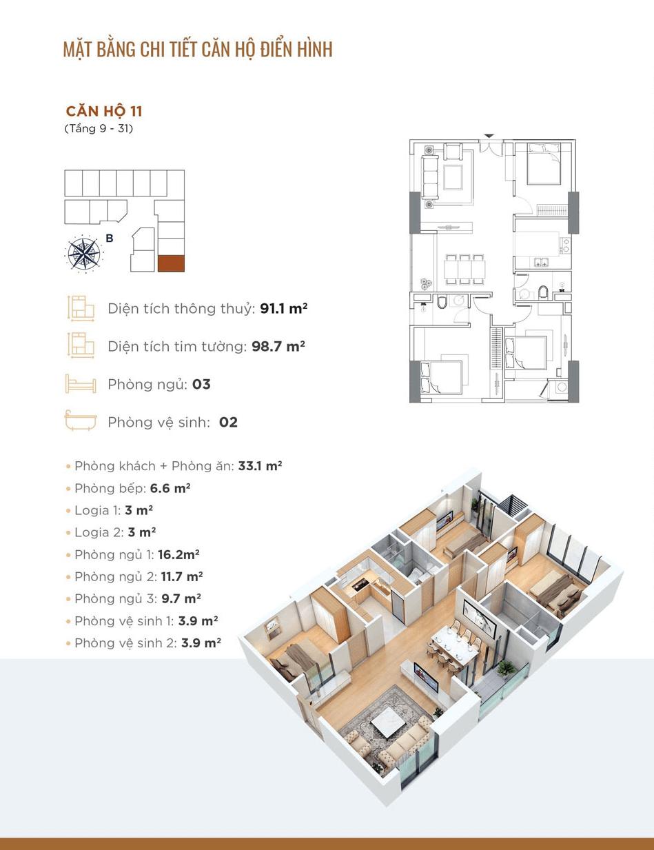 thiết kế chung cư golden park tower căn hộ 11