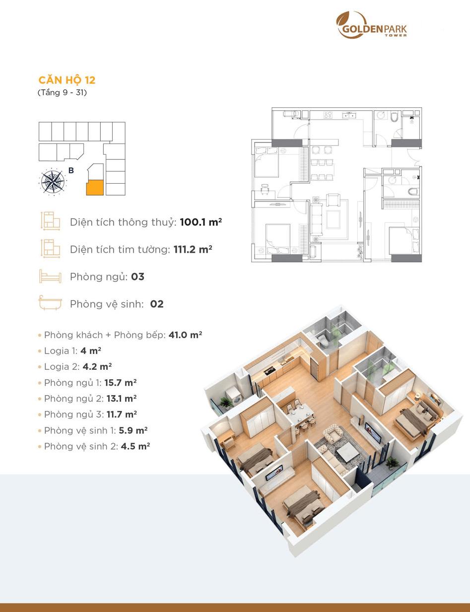 thiết kế chung cư golden park tower căn hộ 12