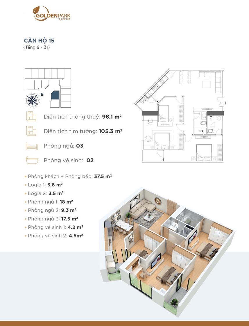 thiết kế chung cư golden park tower căn hộ 15