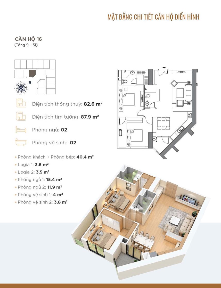 thiết kế chung cư golden park tower căn hộ 16