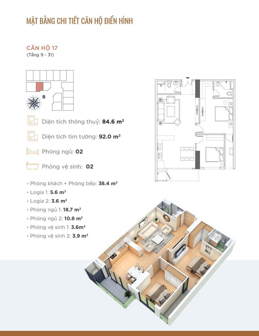 thiết kế chung cư golden park tower căn hộ 17