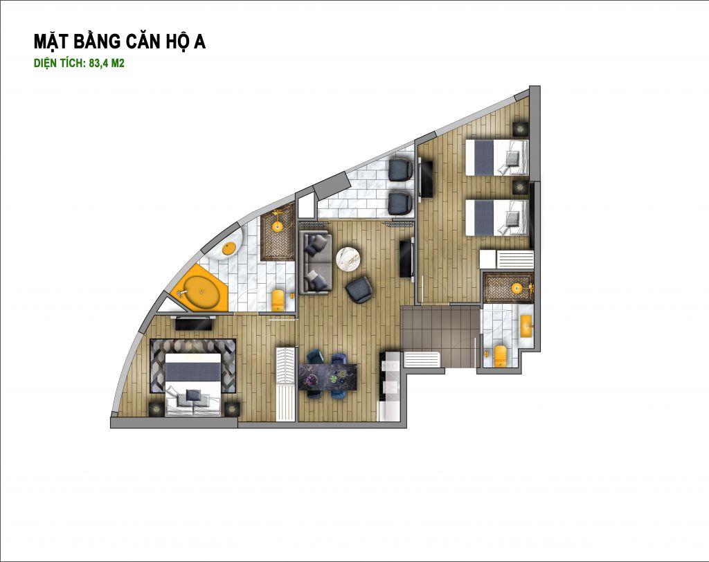 thiết kế chung cư hà nội golden lake căn hộ a
