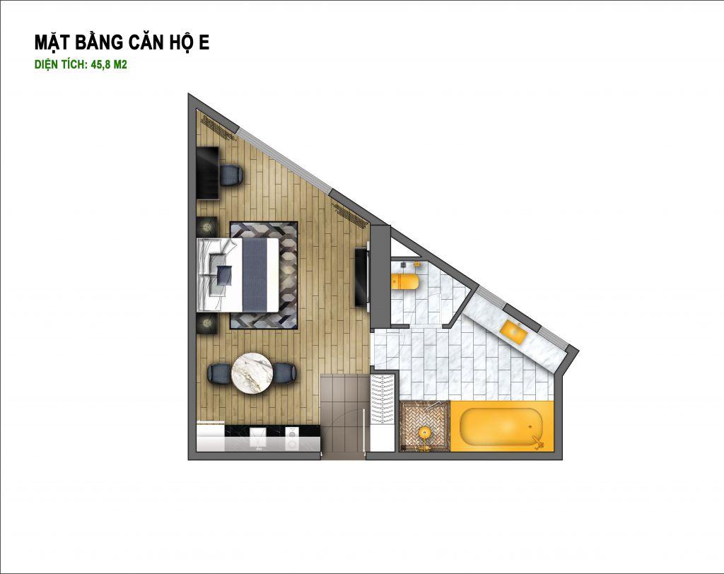 thiết kế chung cư hà nội golden lake căn hộ e
